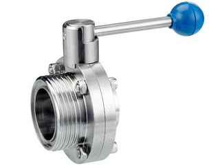 Sanitary Stainless Steel Male Threaded to Weld Manual Butterfly Valve