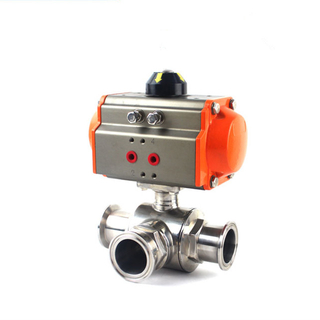 Sanitary Pneumatic T Port Tri-clamp Ball Valve Stainless Steel 304/316L