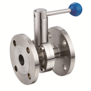 Sanitary Stainless Steel Manual Double Flanged Butterfly Valve